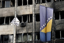 bosnia flag and building