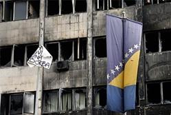 bosnia flag and building